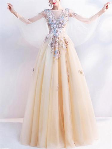 Dreamy Fairytale Floral Embroidered Ball Gown for Prom