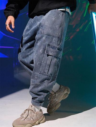Fashion Loose Casual Print Hip Hop Street Jeans