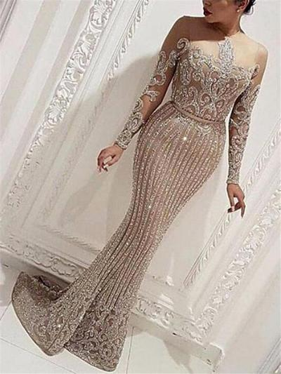 Exquisite Gilding Fitted Waist Long Sleeve Sweep Train Dress for Evening