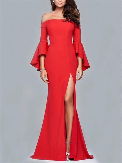 Gorgeous Off Shoulder Bell Sleeve High Slit Dress for Party