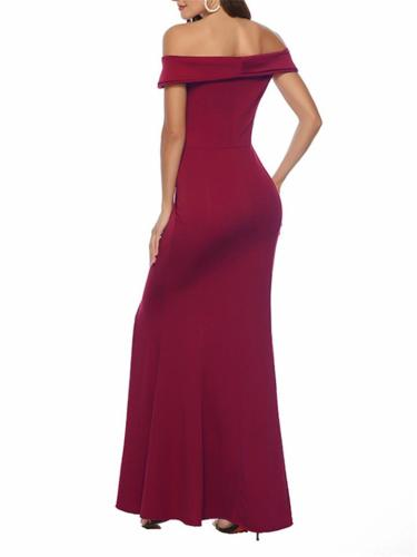 Women's Gorgeous Off Shoulder Bodycon Long Gown Dress with Split