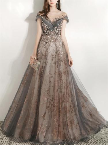 Shimmering Floral Beaded Fitted Waist Mesh Dress for Prom