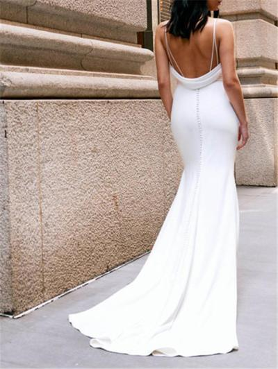 Pretty V Neck Backless Sweep Train Dress for Wedding