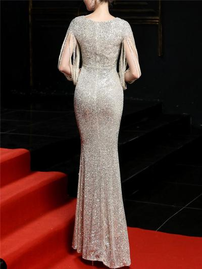 Gorgeous Sequined Mermaid Maxi Dress for Evening Party