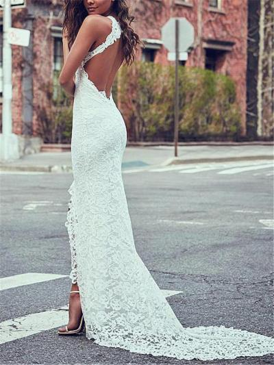 Gorgeous Halter Neck Front Slit Sweep Train Lace Dress for Evening Party