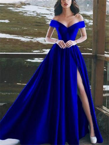 Elegant Off Shoulder Thigh High Slit Dress for Evening Party