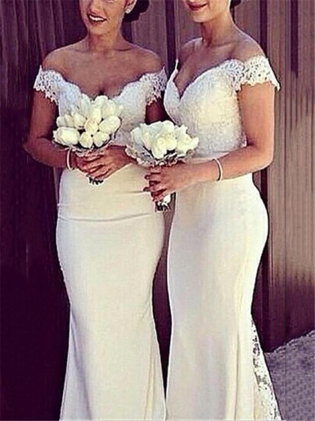 Gorgeous Off Shoulder Lace Mermaid Bridesmaid Dress for Wedding