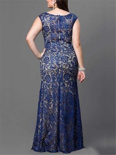 Elegant Plus Size Embellished Neckline Sleeveless Maxi Dress
