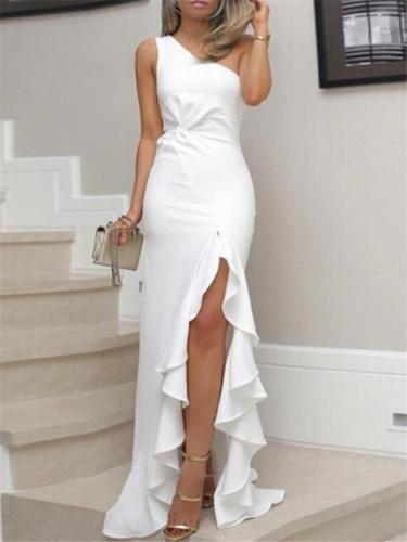 Flattering Asymmetric Ruffle Gown Dress for Party