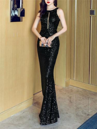 Stunning Sequined Halter Neck Mermaid Dress for Evening Party