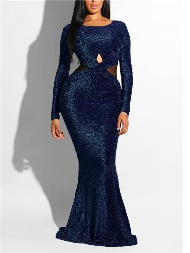 Elegant Round Neck Cutout Fitted Waist Trumpet Dress for Prom