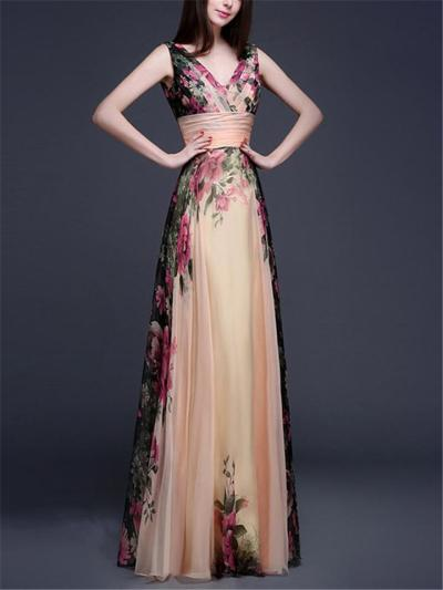 Elegant Fitted Waist Floral Printed Chiffon Maxi Dress for Evening Party