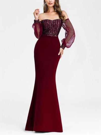 Gorgeous Off the Shoulder Sequined Tulle Sleeve Gowns for Evening Party