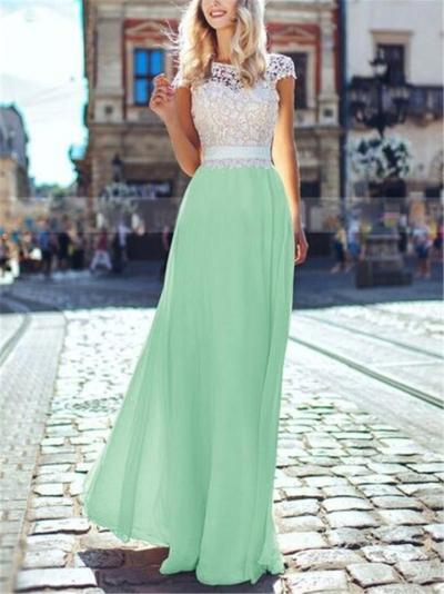 Flattering Lace Bodice Backless Fitted Waist Flare Dress for Prom