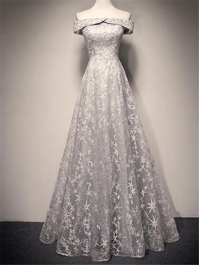 Elegant Fitted Waist Off Shoulder Flared Dress for Formal Party