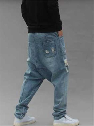 Mens Hip Hop Baggy Street Distressed Jeans