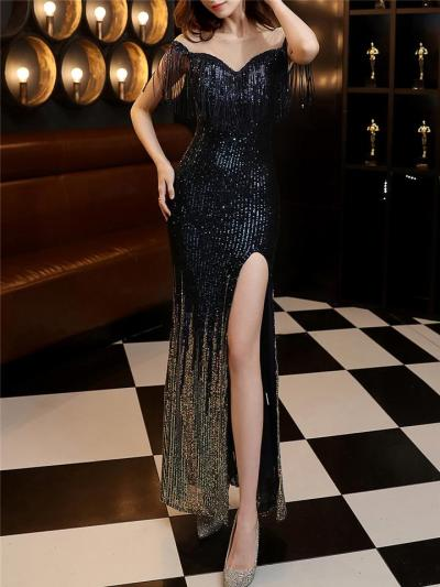 Shimmering Sequined Illusion Neck Side Slit Maxi Dress for Formal Party