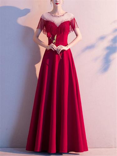Pretty Backless Fitted Waist Flared Dress for Formal Party