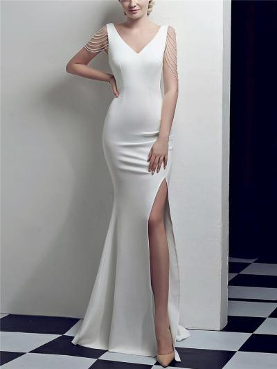 Gorgeous V Neck Thigh High Slit Mermaid Dress for Formal Party