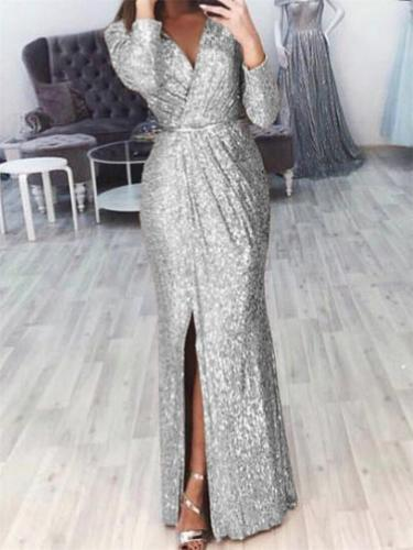 Shimmering Wrap Neck Ruched Waist Side Slit Dress for Prom