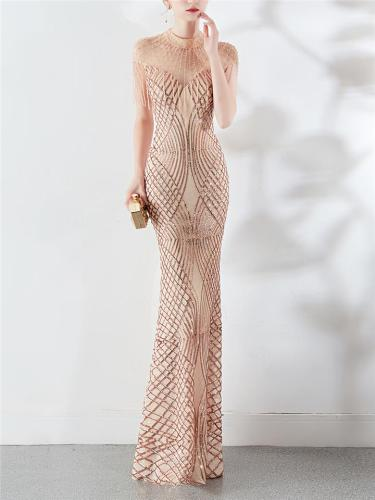 Stunning Sequined Round Mermaid Maxi Dress for Formal Party