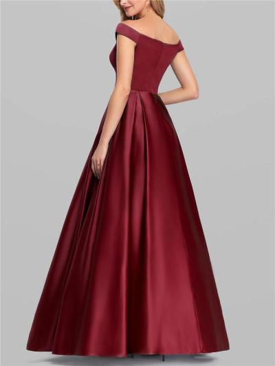 Flattering Off Shoulder Fitted Waist Pleated Ball Gowns for Prom