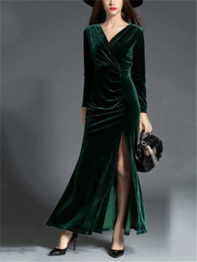 Elegant Wrap Neck Ruched Design Side Slit Velvet Dress for Prom