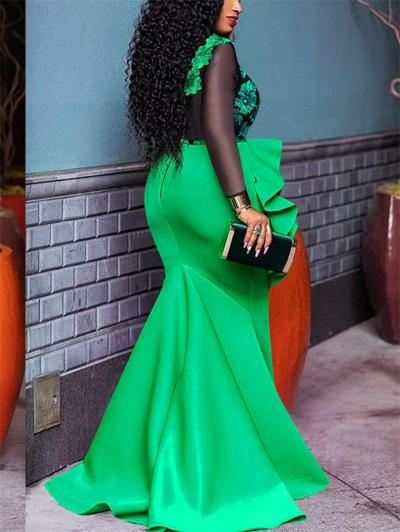 Gorgeous Ruffle Detail Applique Backless Mermaid Dress for Evening Party