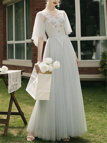 Flattering Fitted Waist Bell Sleeve Tulle Maxi Dress for Prom