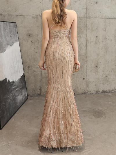 Shiny Embellished Fringe Halter Neck Dress for Evening Party