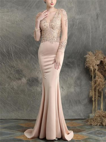 Pretty V Neck Tulle Sleeve Backless Mermaid Dress for Evening Party