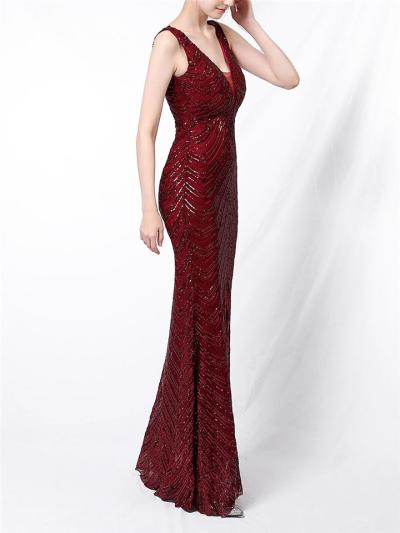 Shiny Backless Sequined Mermaid Dress for Evening Party