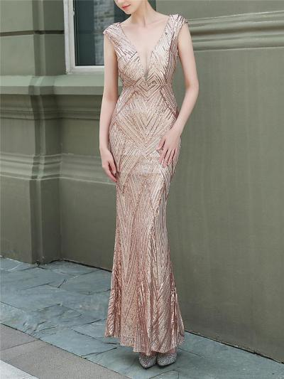 Stunning Sequined Backless Mermaid Dress for Evening Party