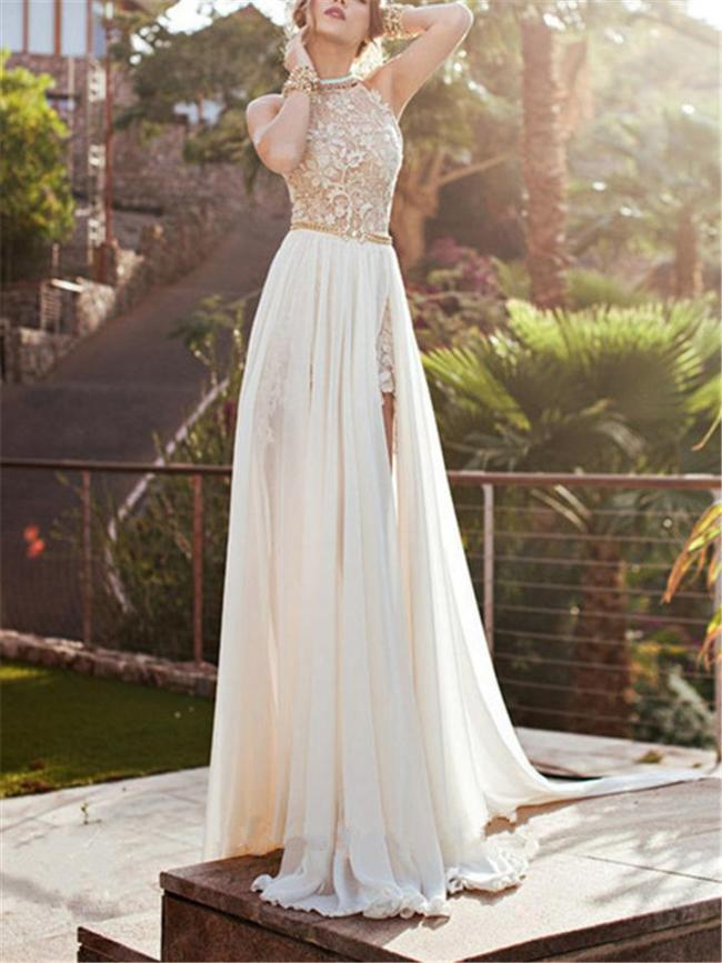 Stunning Halter Neck Floral Lace Bodice Backless Dress for Wedding