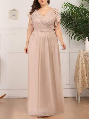 Pretty Maxi Long Chiffon Evening Dress Gown with Ruffles Sleeves