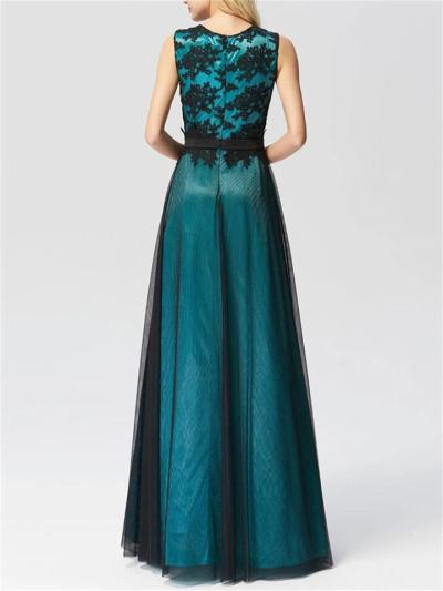 Pretty A-Line Lace Sleeveless Maxi Evening Dress with Black Brocade
