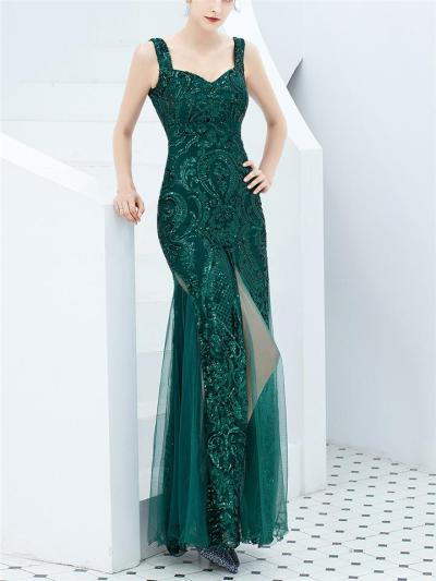 Stunning Sequined High Slit Mermaid Tulle Dress for Evening Party