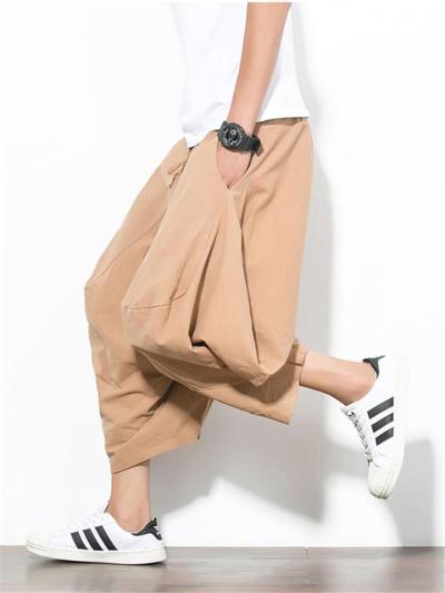 Casual Loose Vintage Linen Cropped Harem Pants