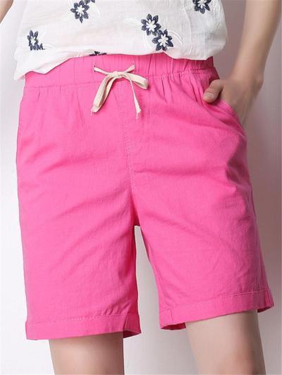 Laid-Back Style Loose Fit Side Slit Pocket Drawstring Thigh-Length Shorts