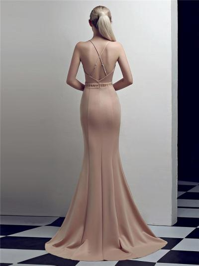 Stunning Wrap Neck Backless Sweep Train Strappy Dress for Evening Party