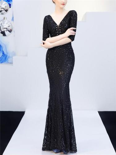 Shimmering Sequined Backless Front Lace Up Tulle Dress for Evening Party
