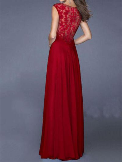 Pretty Floral Lace Bodice Fitted Waist Chiffon Dress for Prom