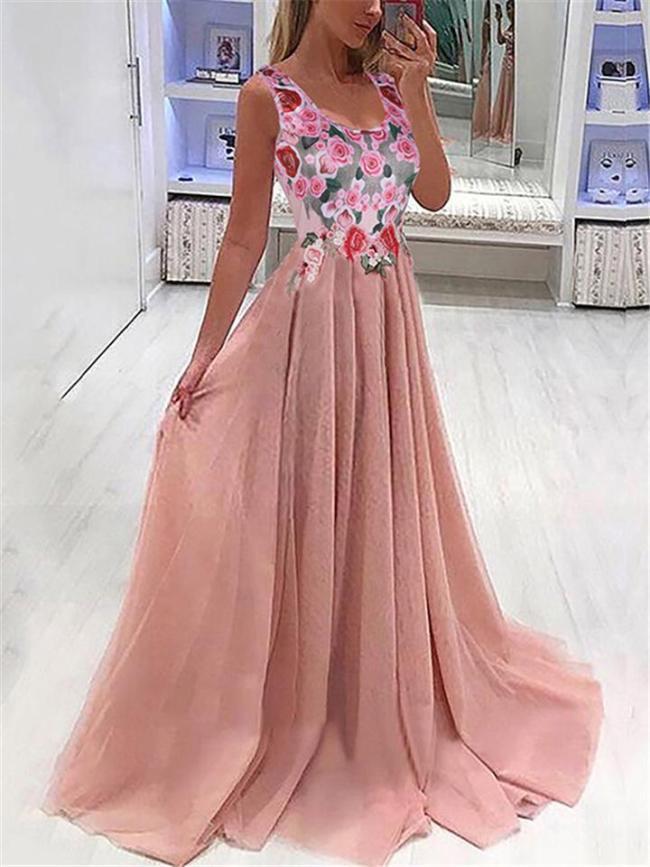 Women's Elegant Sleeveless Floral Party Dress