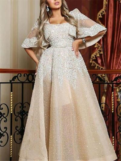 Glamorous Square Neckline Cap Sleeve Beaded Fitted Waist Dress for Prom