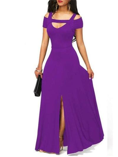 Pretty Fitted Waist Cutout Design Slit Maxi Dress for Prom