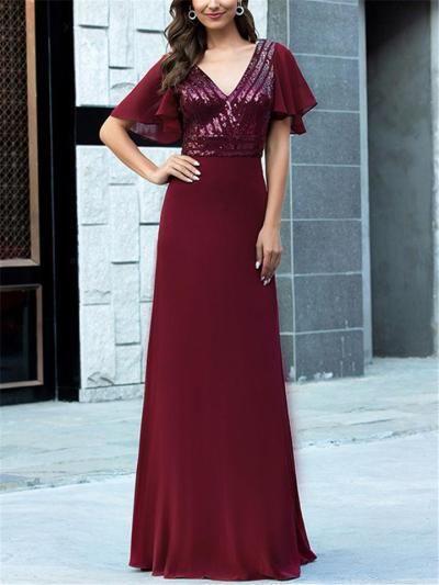 Pretty V Neck Sequined Fitted Waist Chiffon Dress for Prom