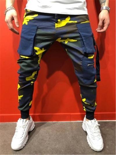 Mens Hip Hop Slim Fit Camo Pants With Side Poxkets
