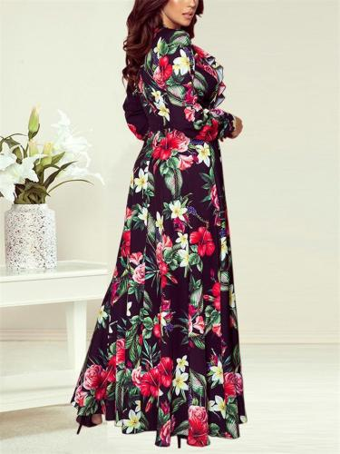Stylish Wrap Neck Floral Printed Fitted Waist Maxi Dress