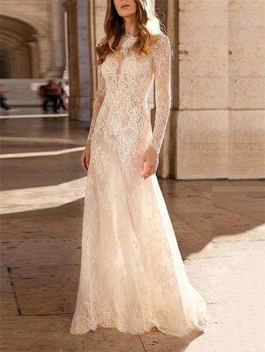 Gorgeous White Applique Long Sleeve Sweep Train Dress for Prom