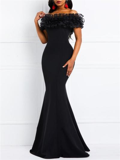 Gorgeous Off Shoulder Ruffle Design Maxi Mermaid Dress for Evening